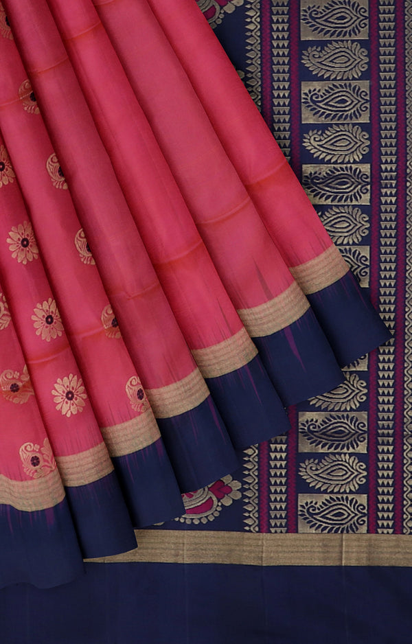 Soft silk saree dual shade of pink and blue with golden zari buttas