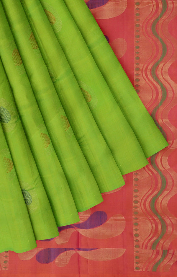 Soft silk saree dual shade of grass green and dual shade of pink with buttas