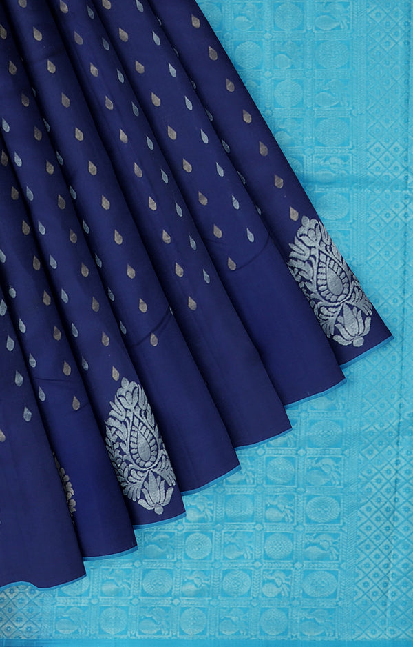 Soft silk saree navy blue and copper sulpate blue with gold and silver zari buttas