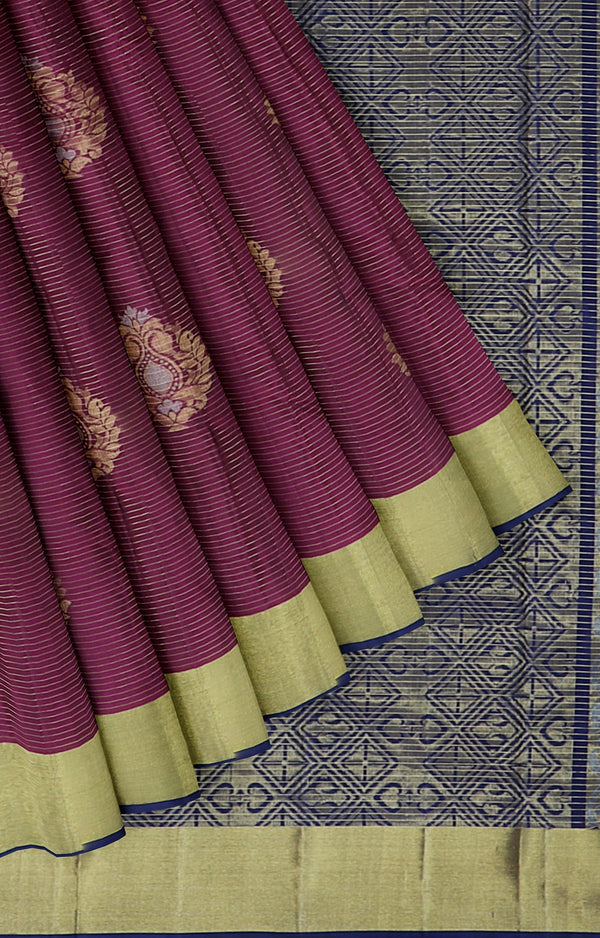 Soft silk saree purple and navy blue with overall golden zari line buttas