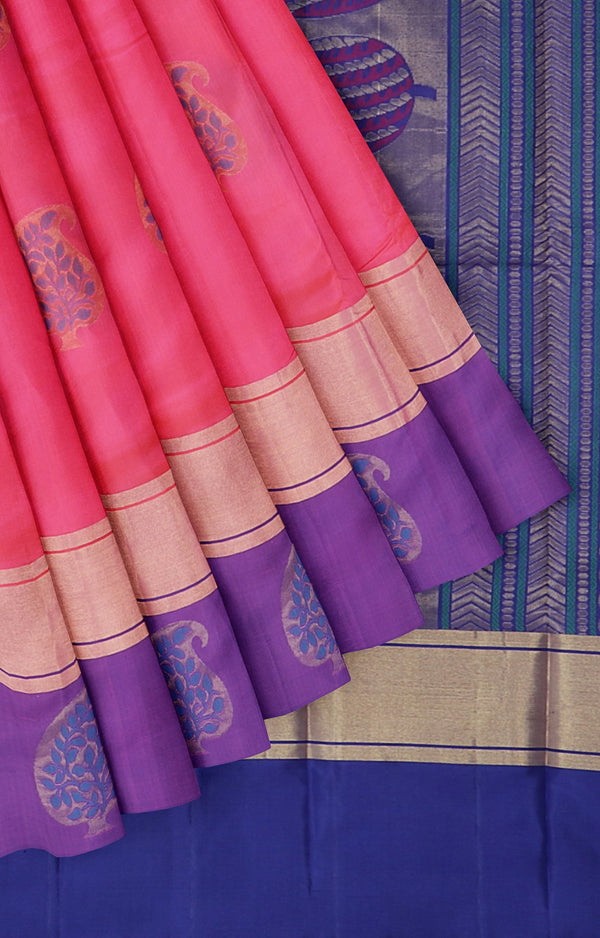 Soft silk saree dual shade of pink and navy blue with golden zari thread buttas