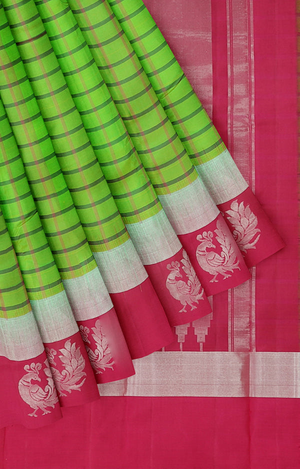 Soft silk saree dual shase of green and double border with silver zari peacock buttas checked pattern