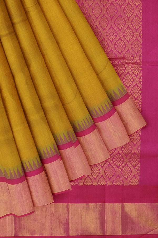 Kuppadam silk cotton saree golden yellow and pink with long zari temple thread border
