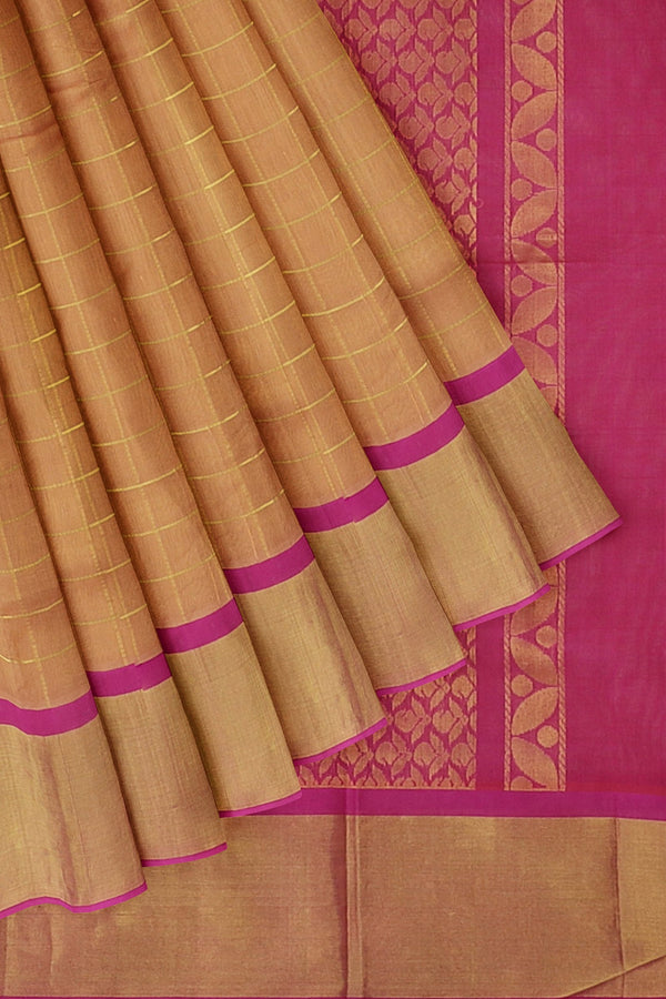 Kuppadam silk cotton saree buscuit and royal pink checkked pattern with long zari border