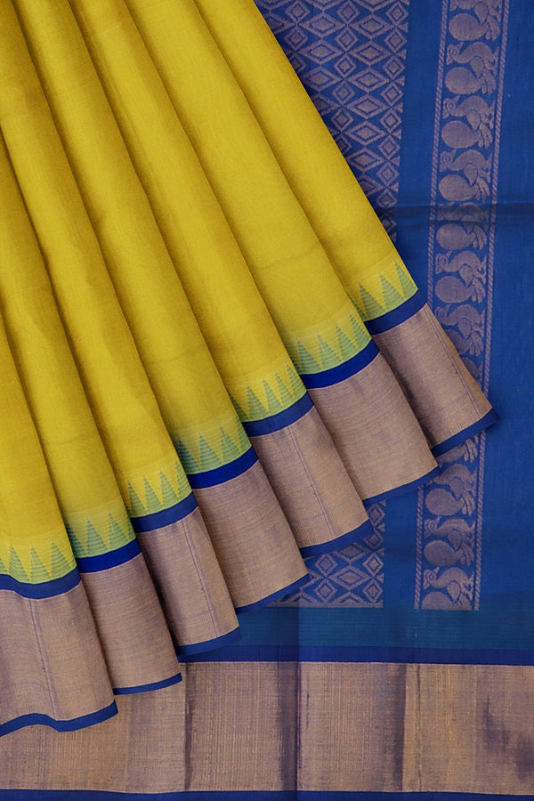 Kuppadam silk cotton saree lemon yellow and blue with temple thread border
