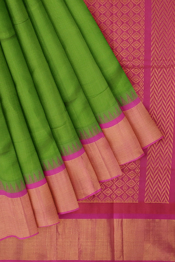 Kuppadam silk cotton saree green and pink with temple thread border