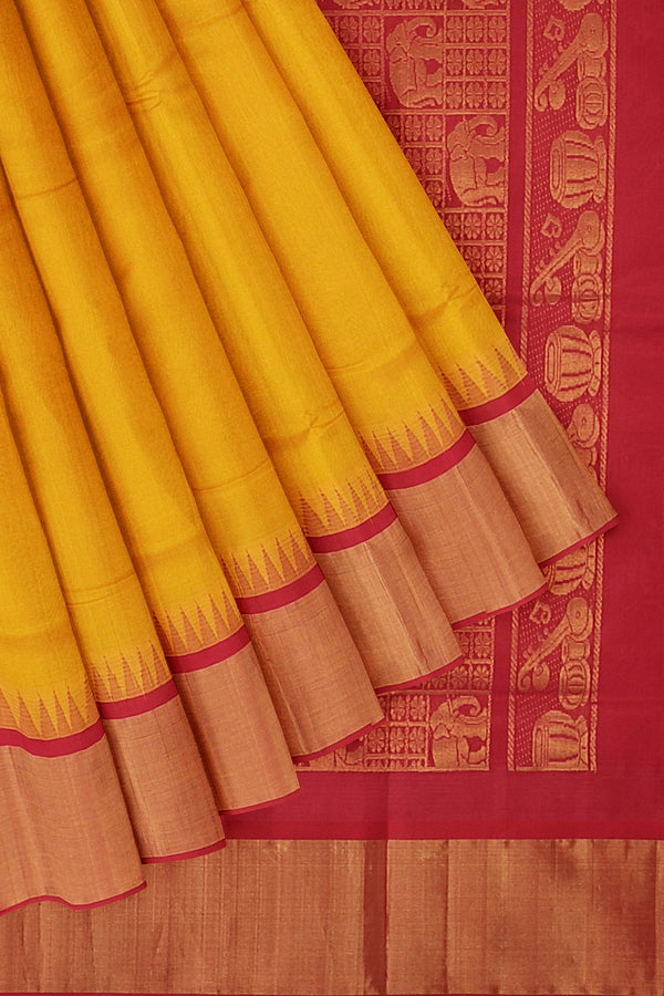 Kuppadam silk cotton saree yellow and red with temple thread border