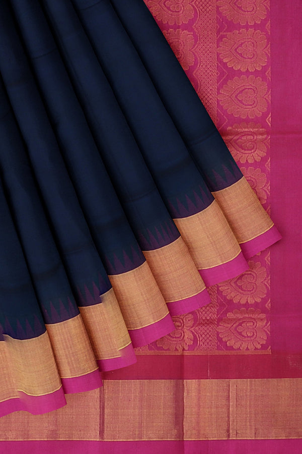 Kuppadam silk cotton saree navy blue and pink with temple thread border