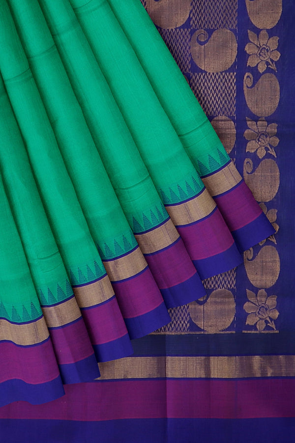 Kuppadam silk cotton saree teal green and blue with temple thread border