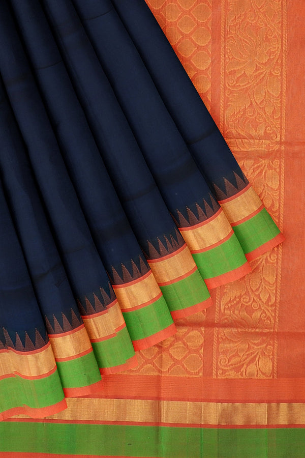 Kuppadam silk cotton saree navy blue and orange with temple thread border
