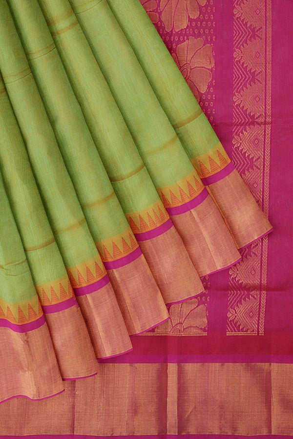 Kuppadam silk cotton saree pista shade green and pink with temple thread zari border