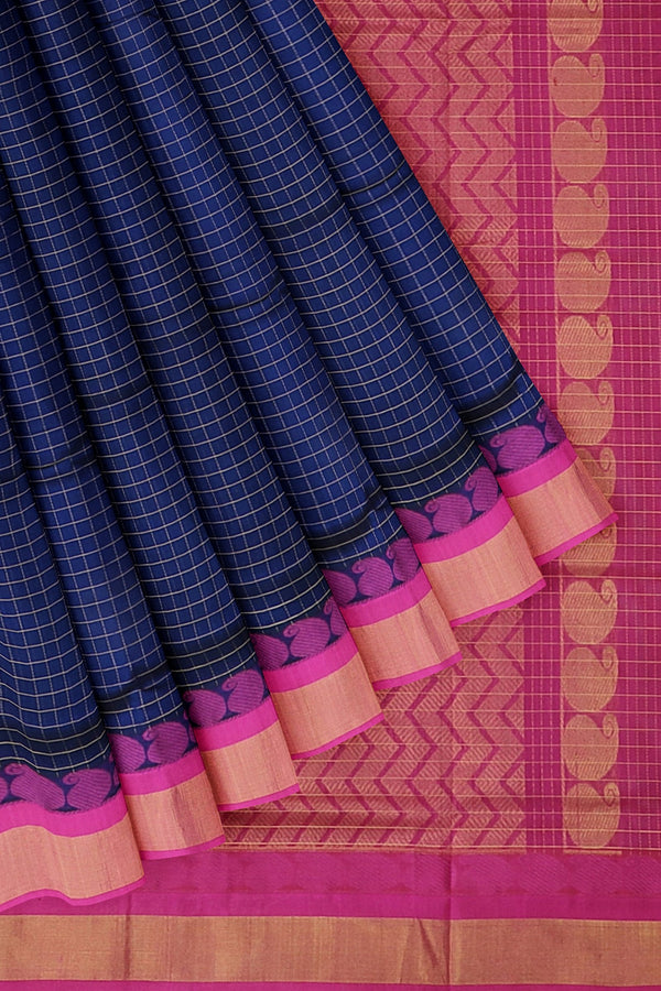 Kuppadam silk cotton saree violet and pink with zari checks and rich pallu