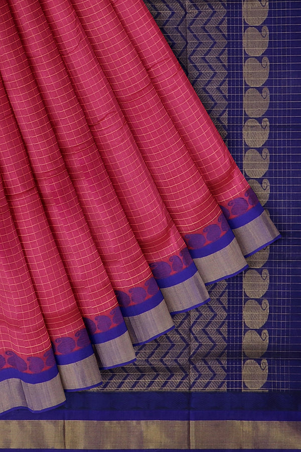 Kuppadam silk cotton saree pink and violet with zari checks and rich pallu