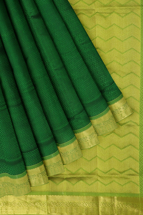 Silk Cotton Saree bottle green and pista green with paisley zari border jacquard