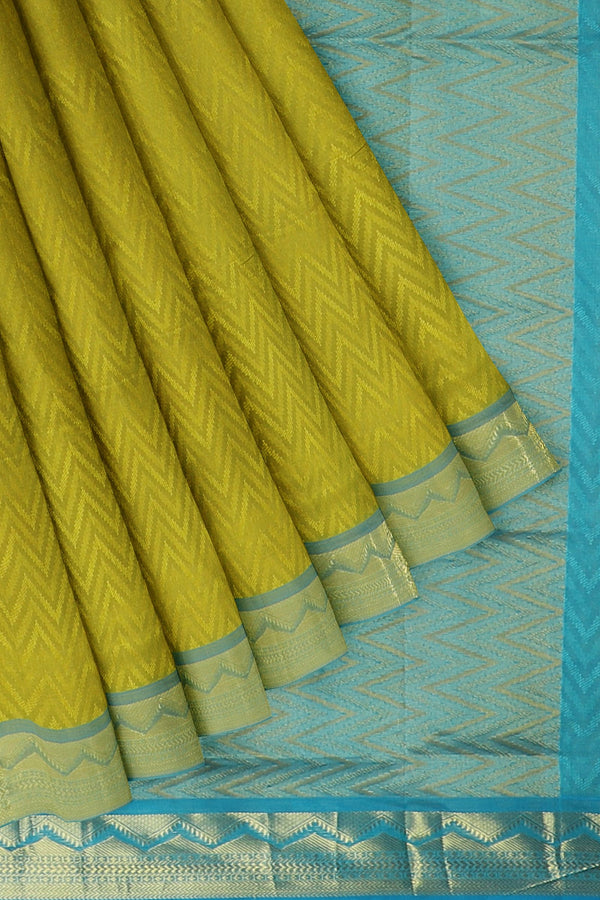 Silk Cotton Saree olive green shade and sky blue with zari border jacquard