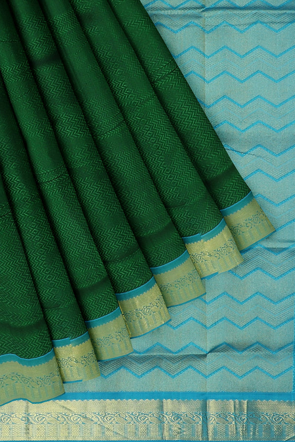 Silk Cotton Saree bottle green and sky blue with paisley zari border jacquard