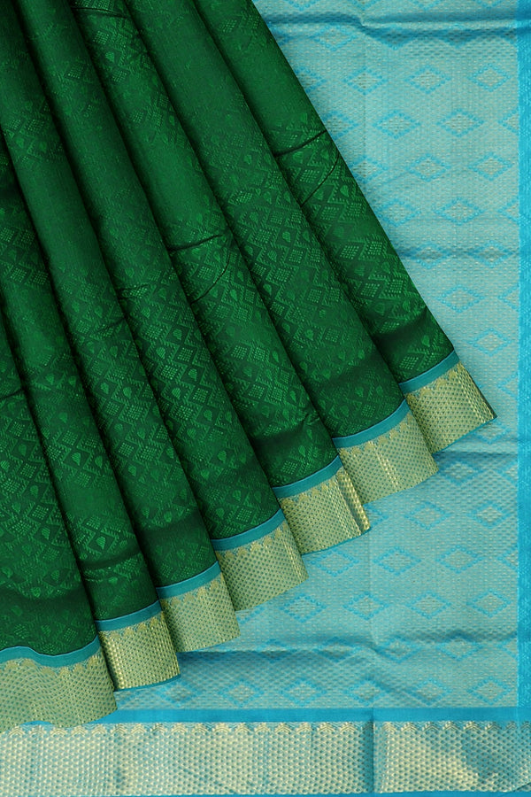 Silk Cotton Saree bottle green and sky blue with zari border jacquard