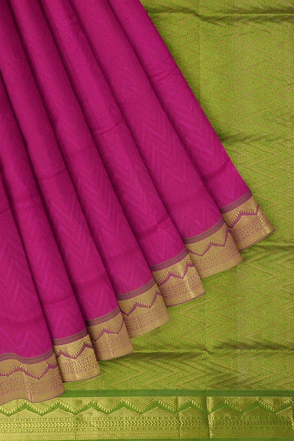 Silk Cotton Saree pink and mehandi green shade with zari temple border jacquard