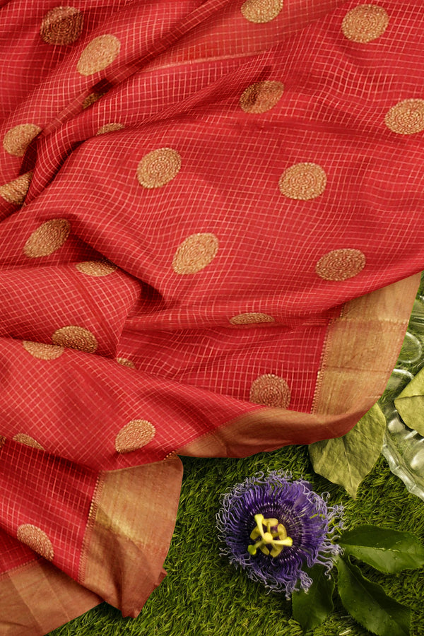 Pure Kanjivaram silk saree red and green checked pattern with golden zari round buttas