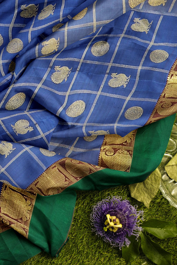 Pure Kanjivaram silk saree blue and green checked pattern with golden zari round peacock buttas