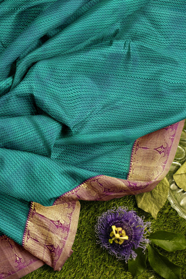 Pure Kanjivaram silk saree peacock green and purple with floral zari border