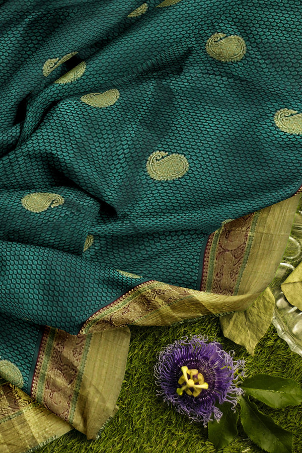 Pure Kanjivaram silk saree bottle green and maroon golden zari border with paisley design and self emboss