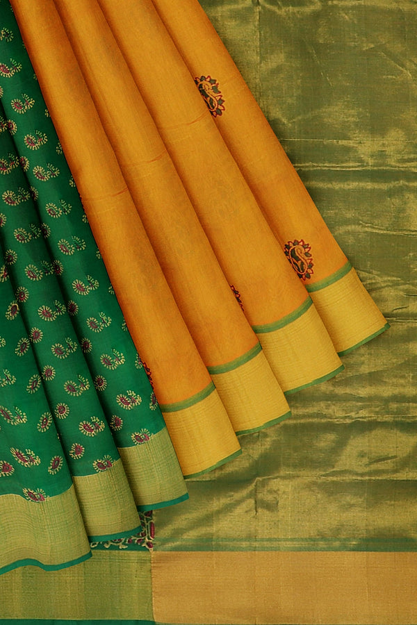 Hand block printed silk cotton partly saree mango yellow and green with paisley design zari border
