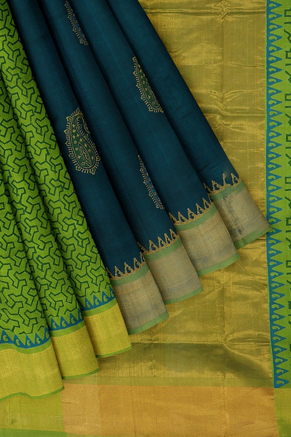 Hand block printed silk cotton partly saree peacock blue and pista green with paisley design and zari border