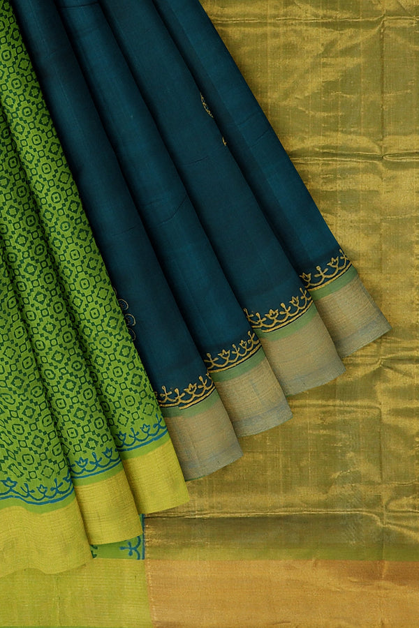 Hand block printed silk cotton partly saree peacock blue and green with peacock design