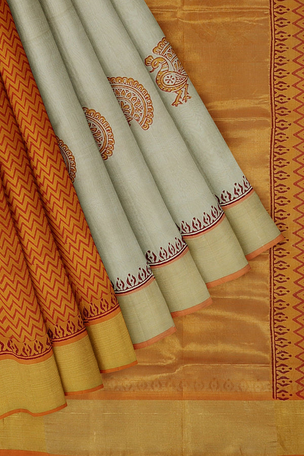 Hand block printed silk cotton partly saree half white and mustard yellow with peacock design