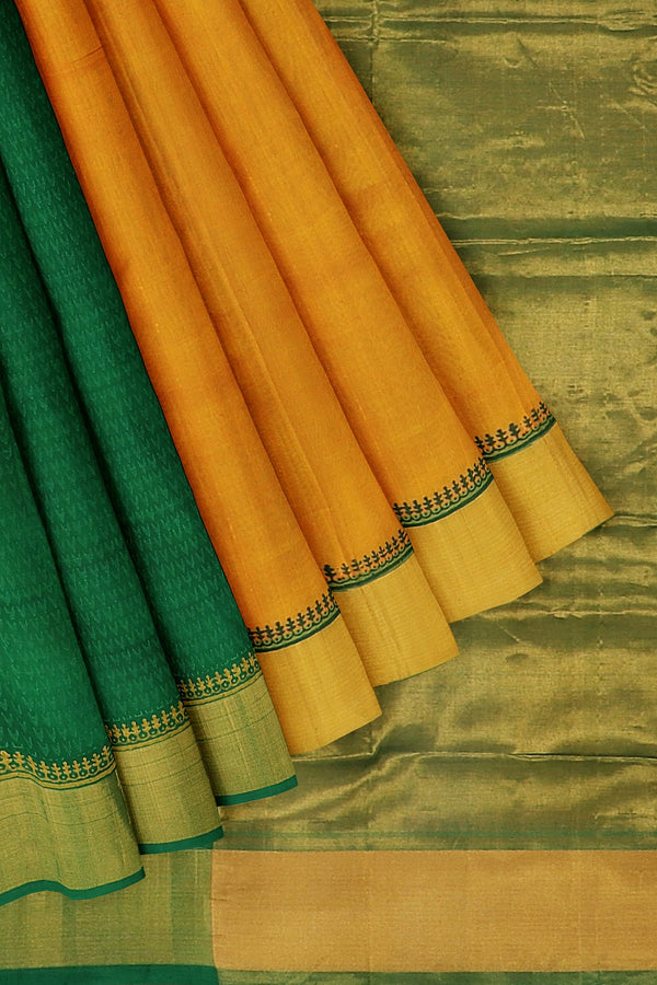 Hand block printed silk cotton partly saree mango yellow and green with peacock design and zari border