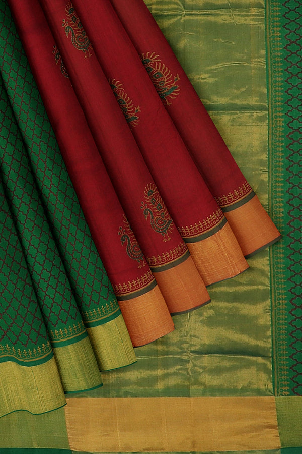 Hand block printed silk cotton partly saree maroon and green with beautiful peacock designs