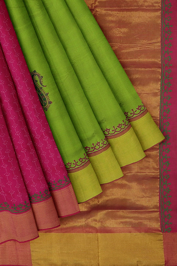 Hand block printed silk cotton partly saree green and pink with paisley design and zari border