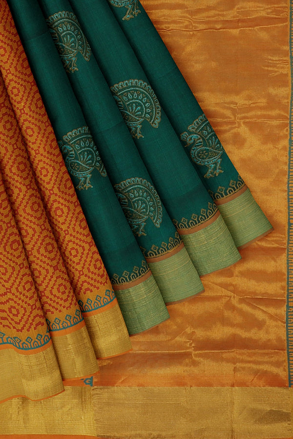 Hand block printed silk cotton partly saree bottle green and mustard yellow with Peacock design
