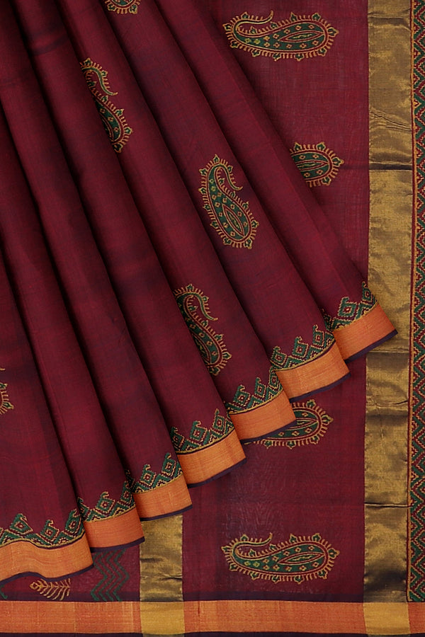 Hand block printed silk cotton saree dual shade of marron with paisley block prints