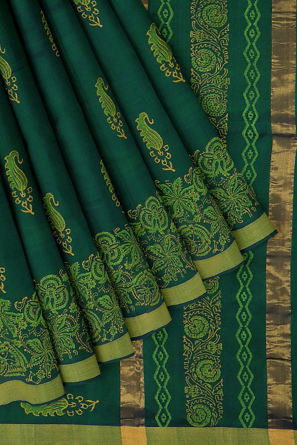 Hand block printed silk cotton saree dual shade of bottle green with floral designs