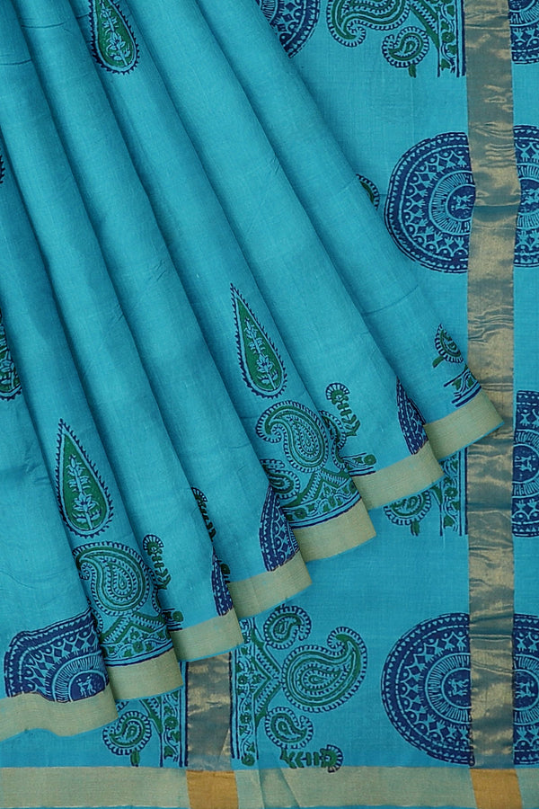 Hand block printed silk cotton saree Sky blue with paisley design and zari border