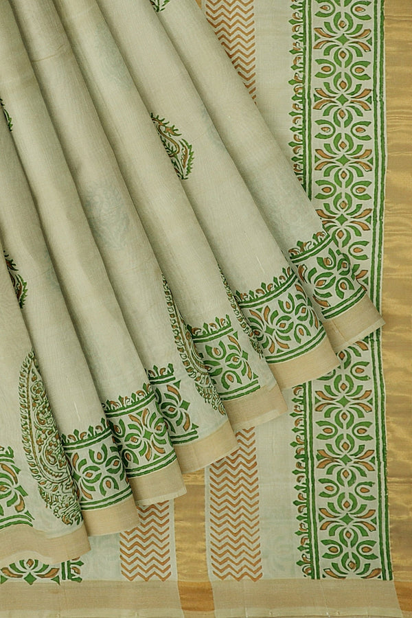 Hand block printed silk cotton saree half white with paisley design