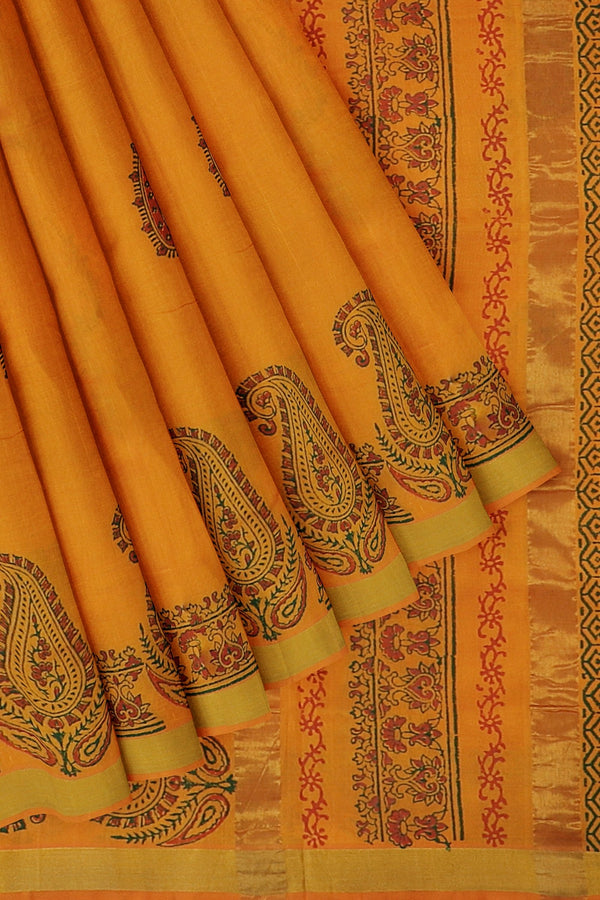 Hand block printed silk cotton saree dual shade of orange with paisley floral design