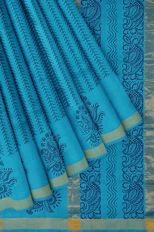 Hand block printed silk cotton saree copper sulphate blue with floral design and zari border