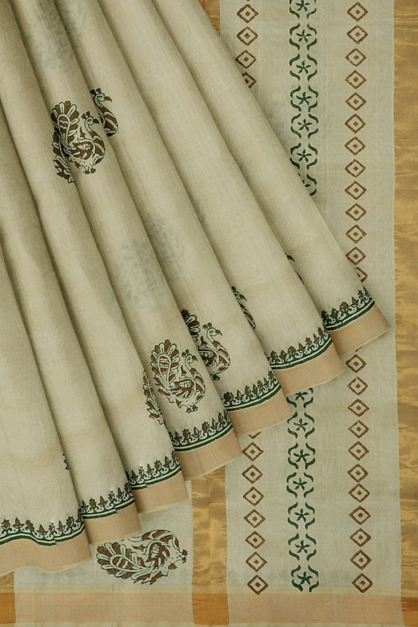 Hand block printed silk cotton saree Half white with peacock design zari border