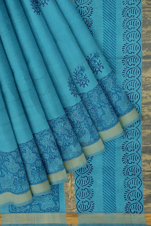 Hand block printed silk cotton saree shade of sky blue with paisley designs