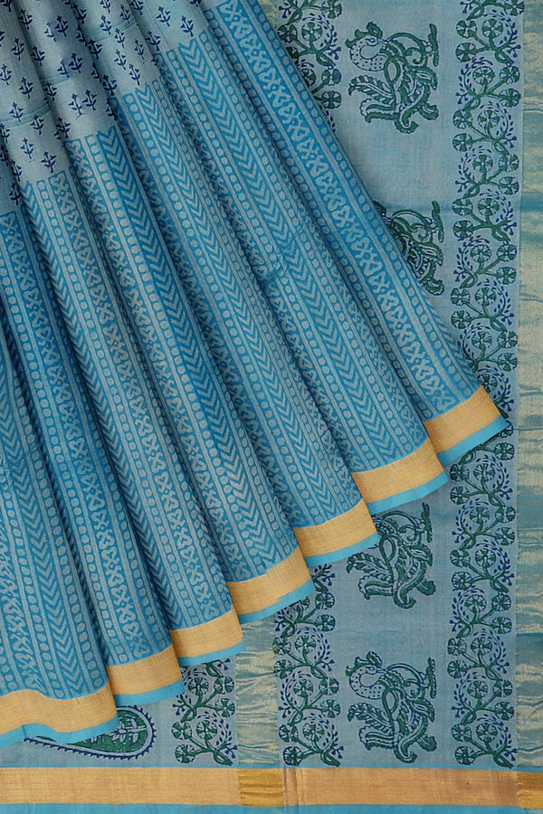 Hand block printed silk cotton saree dual shade of grey and sky blue with floral design