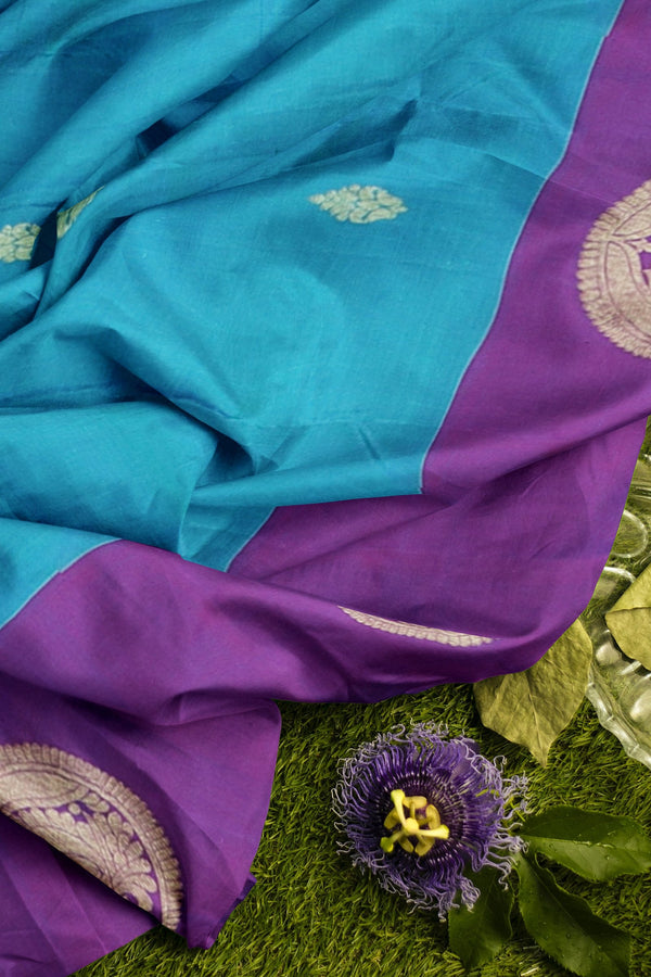Pure Kanjivaram silk saree dual shade of blue and purple with golden zari round peacock butta long border