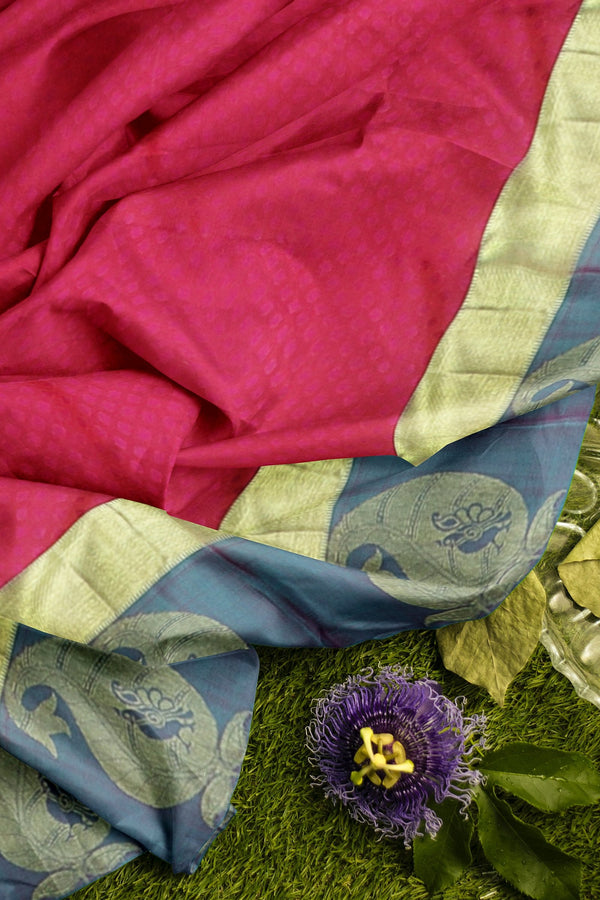 Pure Kanjivaram silk saree pink and dual shade of teal green with paisley zari border and self emboss