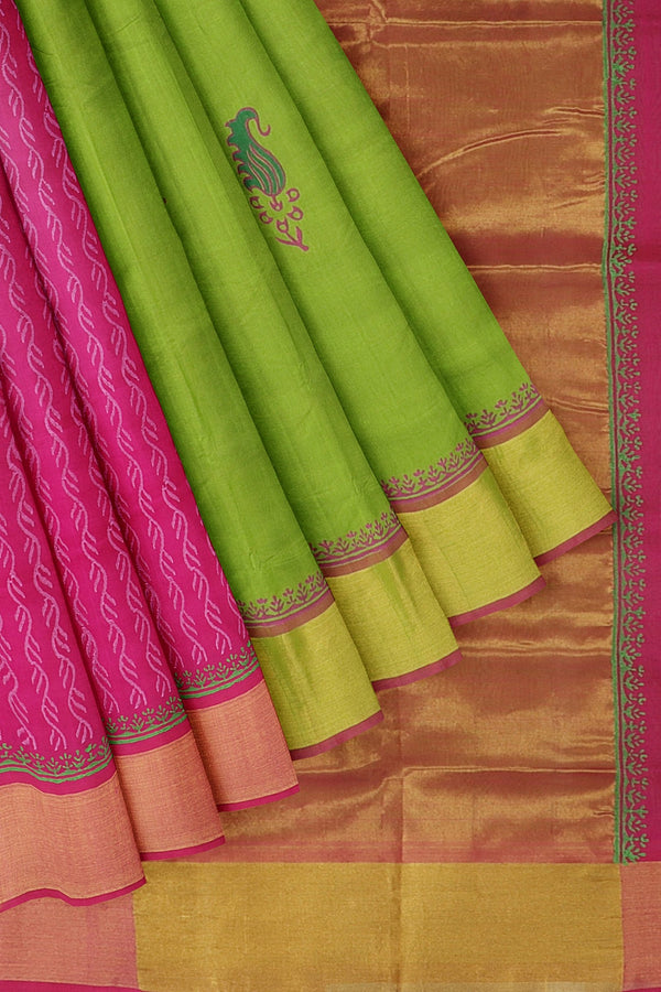 Hand block printed silk cotton partly saree grass green and pink with paisley designs