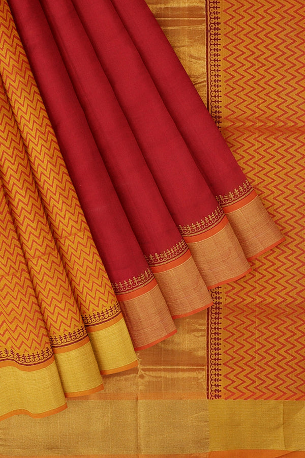 Silk cotton partly saree chilli red and mustard yellow with peacock hand block prints with golden zari border