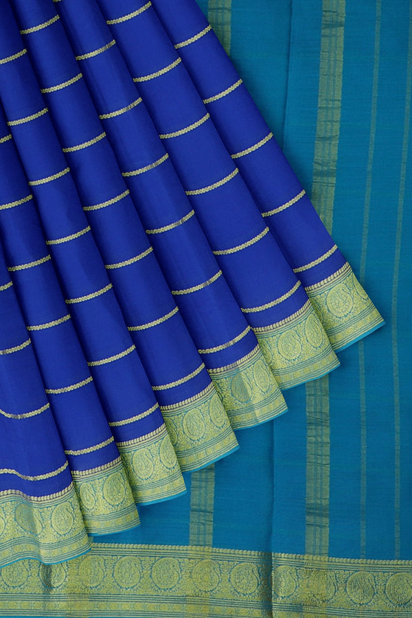 Pure mysore crepe silk saree royal blue and sky blue with golden zari lines and paisley zari border