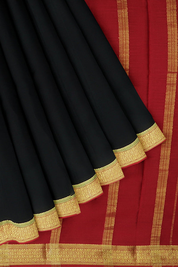 Pure mysore crepe silk saree black and red with small paisley zari border