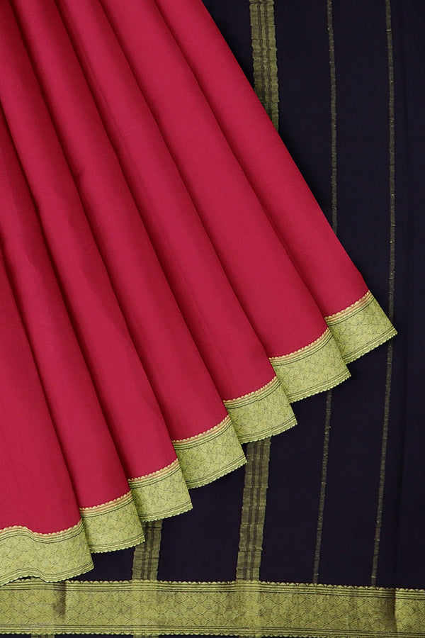Pure mysore crepe silk saree pink and navy blue with golden zari border